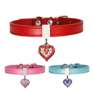 Pet Dog Collar With Diamond Heart Bell Fashion PU Leather Pet Dog Cat Collars Small Dog Neck Adjustable Strap DWA2711
