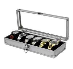 Hot Sales 6 12 Slots Large Capacity Watch Box Glass Top Locked Jewelry Organizer Displaying Watches Men Women Watch Case Boxes