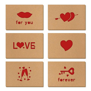 Kraft Paper Love Greeting Card Valentine's Day Hollow Greeting Card Thanksgiving Birthday Wedding Blessing Cards 6pcs set DHA2754