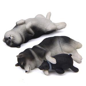 003 Warm Sleeping Series Shiba Inu Hugs Bear Model Super Cute Husky Hand-made Fridge Magnet Doll Car Decoration
