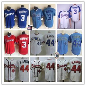 Mens Vintage 1980 Mesh # 3 Dale Murphy Jersey Cucita Bianco Crean Cream Zipper # 44 Hank Aaron Jerseys S-3XL