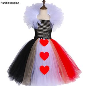 Noir et Red Queen of Hearts Tutu Robe Alice Carnival Halloween Cosplay Costume pour Filles Enfants Anniversaire Robe de fête d'anniversaire 2-12 ans F1130