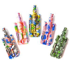 Hot Sell Printing Silicone Nectar Collector kits with 14mm joint Ti Nail nectar collector oil rigs glass bongs DHL free shipping