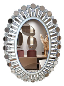 Bathroom Mirror European Style Frame With Diamond Decoration High Quality Mirror Frame Makeup Mirror Explosion-Proof Lens Safety