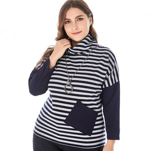 2020 Autumn Women Long sleeve Striped stand collar fashion ladies Vintage elegant mom clothes Plus Size Womens Tops A1112