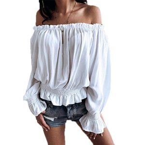 VICABO Chiffon Slash Collar Sexy Shirts Woman Pleated Full Sleeve Off Shoulder Streetwear Tops Elastic Solid Color Blouse Shirts