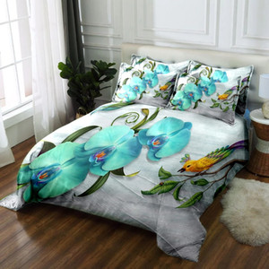 Luxury Bedding sets Light Blue Phalaenopsis Flowers Pattern Duvet Cover Soft Fabric Double Bedding set Quilt Cover Pillowcase
