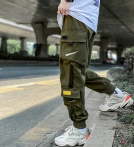 21FW Autumn and Winter New Men's Overalls Fashion Hook Pattern Multi-pocket Streamer Sports Trousers Trousers Casual Pants Size M-2XL