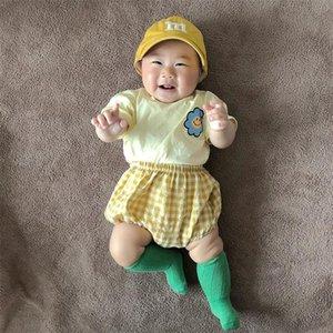 MILANCEL 여자 소년 해바라기 티 체크 무늬 bloomer 의류 세트 쌍둥이 신생아 옷 Y200803