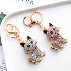 2021 Cute Cat Pendant Keychains Creative Metal Keychain Auto Bag Keyrings per le donne Accessori moda