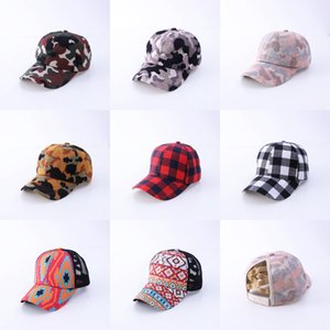 Women Ponytail Baseball Hat Adjustable Tucker Hat Leopard Knit Caps Buffalo Plaid Ponytail Caps GWB3431