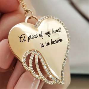 A Piece of My Heart Is In Heaven Christian MEMORIAL NECKLACE Elegant Sacred Angel Wings Mourning Necklace Jewelry Gifts