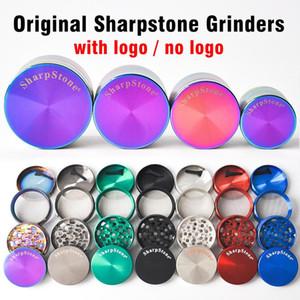 DHL free 40mm 50mm 55mm 63mm 4 parts SharpStone Tobacco Grinder herb grinder cnc teeth filter net dry herb vaporizer pen 7 colors FWD2958