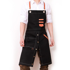 Work Apron Korean Fashion Canvas Cowboy Cafe Tea Shop Barber Men and Women Restaurant Work Clothes