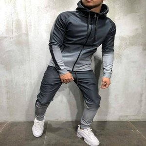 2 Pieces Sweatsuit Men Clothes men's set Casual Hooded Sports Wear Zipper Tracksuit Training Hoodies Jacket Pants Track Suits