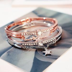 High quality bracelet with star diamondins luxury Rose Gold & Sliver design bangle