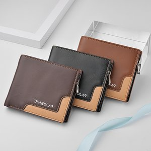 Mens Fashion Designer Short Wallet with Card Holder PU Leather Business Multi-card Zipper Coin Purse K3209