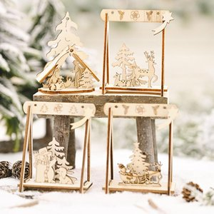 1set mini Christmas swing DIY wooden craft merry Christmas decorations for home gift 2020 xmas decor new year gift navidad natal