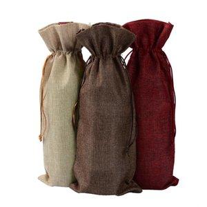 Jute Wine Sacs Champagne Bouteille de vin Couvre-cadeau Pouch-cadeau Buckaging Emballage Sac De Mariage Decoration Sacs à vin Crochette Crochette OWD3048