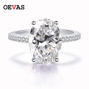 Oevas Luxury 9 S Creó los anillos de boda de Zircon Oval Moissanite para mujeres 100% 925 Sterling Silver Party Party Jewelry