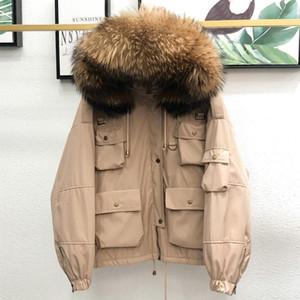 Ftlzz invierno grande natural mapache de piel chaqueta con capucha mujer gruesa 90% blanco pato abajo capa breve pakers sueltos abajo ropa exterior