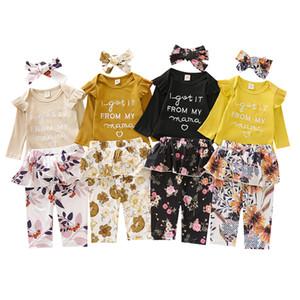 Autumn Kids Clothing Sets Girls Long Sleeve Letter Romper + Floral Skirt Pants + Headbands 3Pcs Sets Boutique Infants Baby Outfits M3126