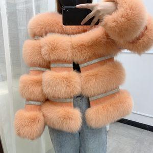BFFUR Winter New Real Fox Fur Coat Women Genuine Fox Fur Jacket Splicing Cashmere Woolen Fur Coats With Crystal Diamonds 201120