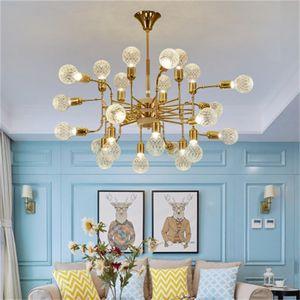Nordic Minimalista Cristal Bola de cristal Chandelier Sala de estar Restaurante Tienda de ropa Colgante Lámparas Personalidad Creative Chandelier Iluminación