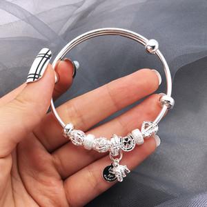 Kekeyun s999 Sterling Silver elephant letter silver bracelet F1201