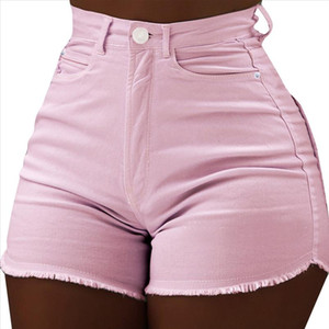 High Waist Skiny Shorts Summer Sexy Tassel Denim Shorts Casual Button Mini Short Pants Woman Solid Pink Trousers Pocket WDC2042