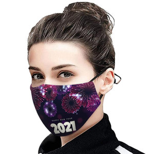 2021 Christmas Face Mask Happy New Year Face Masks Masque Christmas Face Masks Reusable Mask Designer Masks Cover 13 Styles CCC4257