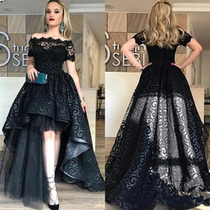 Modest Black High Low Lace Prom Dresses 2021 Short Sleeve A Line high low Evening Party Pageant Gowns Cheap