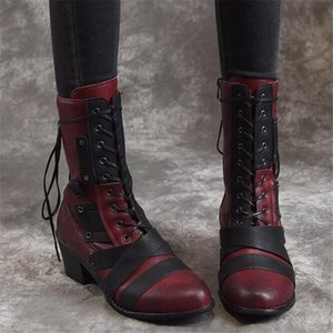 2020 High Heel Riding Boots Women's Winter New Large Size Lace-up Fashion Boots Casual Womens Shoes Large Size Platform