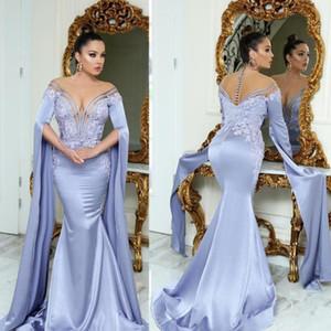 2021 Дубай CAFTAN Lavender Русалка Вечерние платья Длинные Сексуальные Арабские Аппликации Элегантные Официальные Официальные платья PROP Backless Саудовская Аравия Аравия Vestido Longo