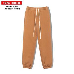 TKPA High Street Kanye INS mismo Color Llano Largo Otoño Invierno Peluche Pantalones Casual Pantalones