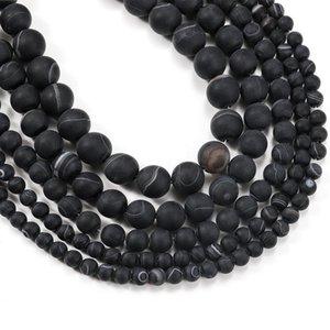 1Strand lote 4 6 8 10 12mm preto Matt Matt Stripe Stripe Stripe Round Beads Para Bracelete DIY Máquinas de Jóias Suprimentos H BbyQQQ
