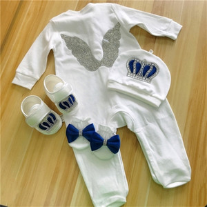 Baby Rompers Girls Boys Infant Cotton Clothes Set Hat Shoes Gloves Welcome Newborn Crown Jewelry Angel Wing Pajamas OUtfit LJ201223