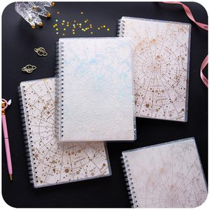 A5 Starry Sky Spiral Coil Notebook Lined Blank Grid Paper Book Journal Diary Sketchbook For School Office Supplies Stationery
