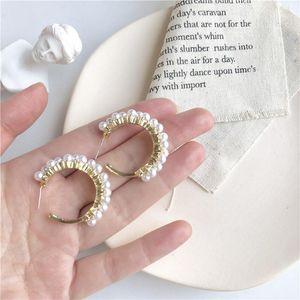 Lexie Diary 2020 New Fashion S925 STUB PLAINT PLATED STUB C forma de aleación de perlas Pendientes para mujer Accesorio Joyería1