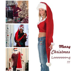 Ultra Long Christmas Hat New Design Red Soft Velvet Hats Santa Claus Cosplay Costume Long Xmas Hats Decoration for Kids Party Y1125