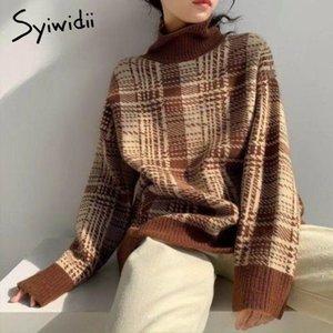 SyiWidii Turtlenk Suéteres para las mujeres Plaid Fall 2020 Oversized Korean Winter Ropa Jerseys Punto Batwing Sleeve Flow F1203