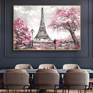 Abstract Romantic Lovers Street View Wall Art Canvas Paintings Eiffel Tower Posters and Prints for Living Room Decor