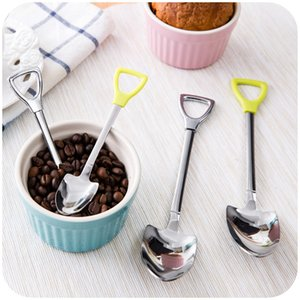 Stainless Steel Coffee Spoon Fork Shovel Shape Soup Spoons Creative Tableware Kitchen Bar Reusable Popular DHF3897
