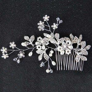 Joyas de pelo para mujeres color plateado de color metal flor hoja cristal rhinestone boda pelo peine novia princesa tiaras coronas