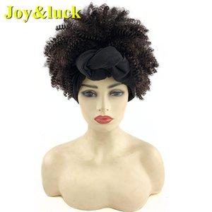Joy&luck Hair Synthetic Headband Wig Linked Black Turban Afro Kinky Culry Hair Wigs for Women