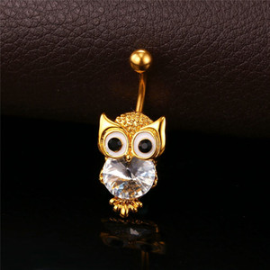 unique New Cute Owl Jewelry Navel Ring Women Body Jewelry 18K Gold Plated   Platinum Lucky Nighthawk Animal Belly Button Ring DB006