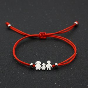 Hot Solds Lucky Red String Bracelet Braided Adjustable Stainless Steel Charm Bracelets for Family Dad Mom Son Daughter Jewelry Child Gift