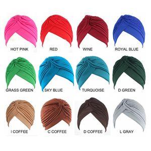 Müslüman Kadınlar Streç Düz Renk Fırfır Türban Şapka Eşarp Kanseri Kemo Beanie Bayanlar Saç Aksesuarları için Kafa Wrap Kaplama Kapaklar