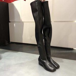 Stiefel Damen Dünne Oberschenkel High Black PU Leder Stretch Split Tehe Schuhe Med Heels über Knie B215