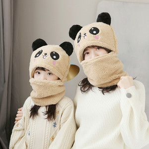 kids adult Winter Plus Velvet Warm Panda Hat Scarf Boy Girl 2 in 1 Thicken Ski Cap Neck Warm Scarf hat KKA8299